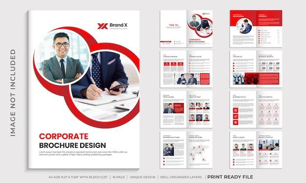 Layout del modello di brochure a più pagine di colore rosso aziendale Vettore Premium