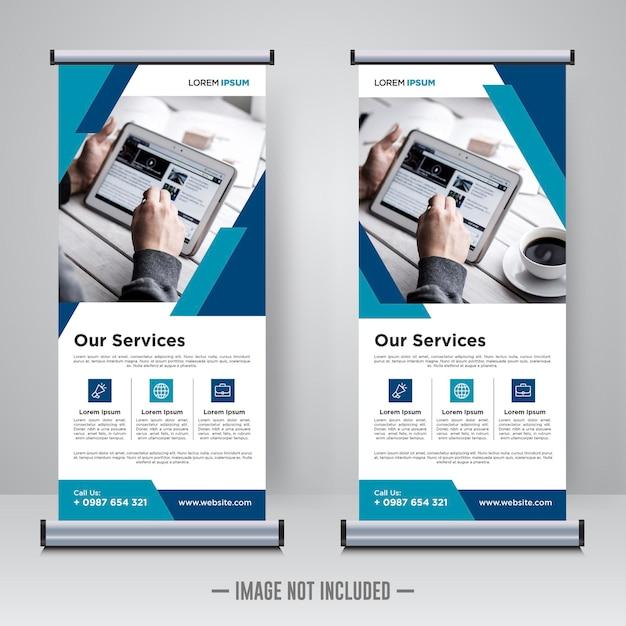 Rollup aziendale o modello di progettazione banner Vettore Premium
