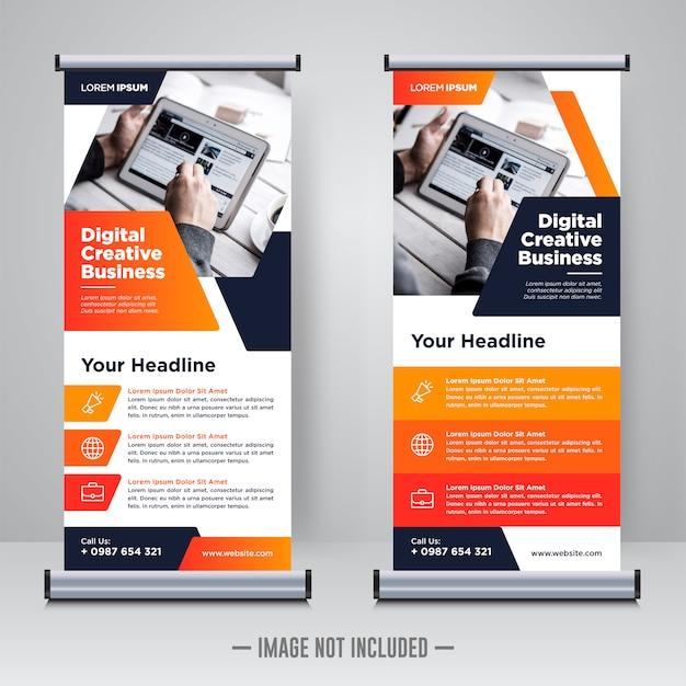 Rollup aziendale o modello di progettazione banner x Vettore Premium