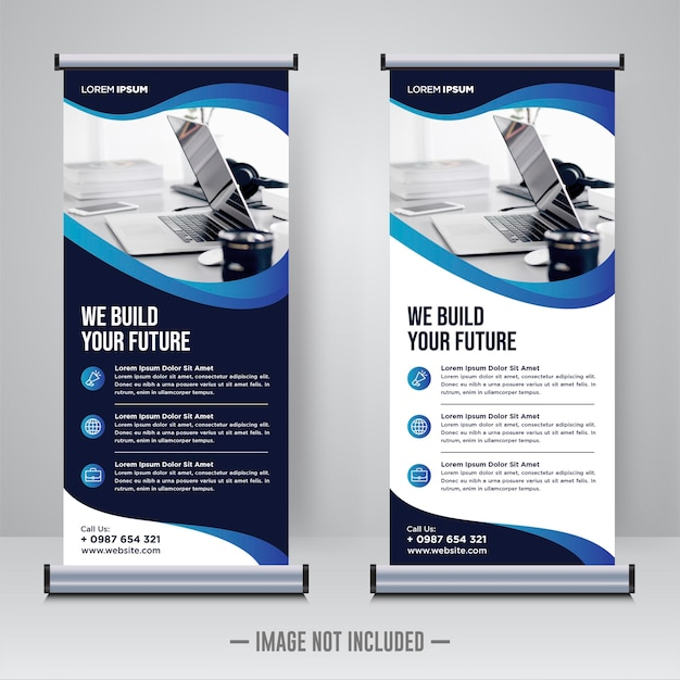Rollup aziendale o modello di progettazione di banner x. Vettore Premium