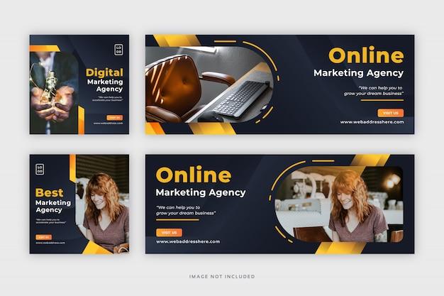 Banner web aziendale post social media con copertina di facebook Vettore Premium