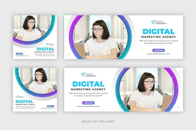 Banner web post sui social media aziendali con copertina facebook Vettore Premium