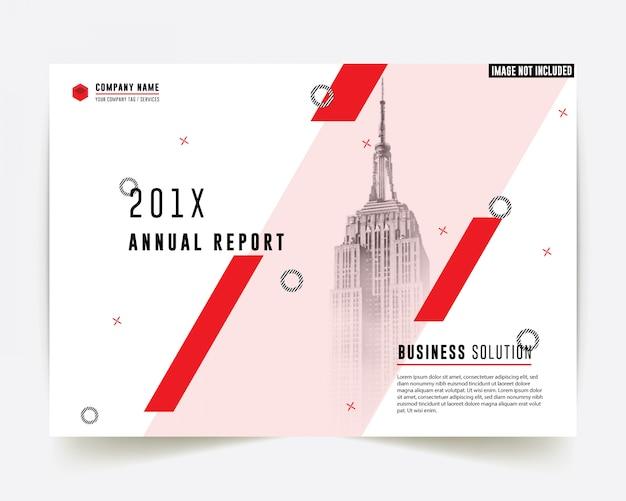 Rapporto annuale di affari di colore rosso di stile corporativo Vettore Premium