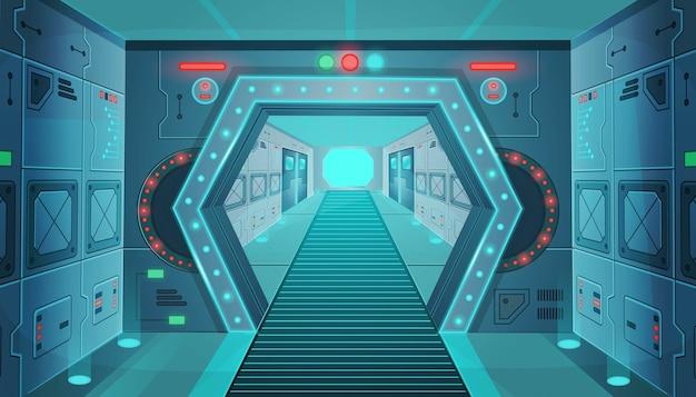 Corridoio con una porta in un'astronave. cartone animato sfondo interno stanza fantascienza astronave. sfondo per giochi e applicazioni mobili. Vettore Premium