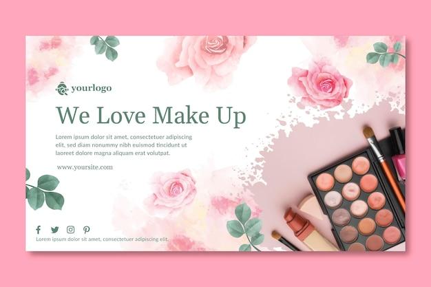 Tema del modello di banner cosmetico Vettore Premium