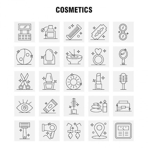 Set di icone di linea di cosmetici per infografica, kit ux / ui mobile Vettore Premium