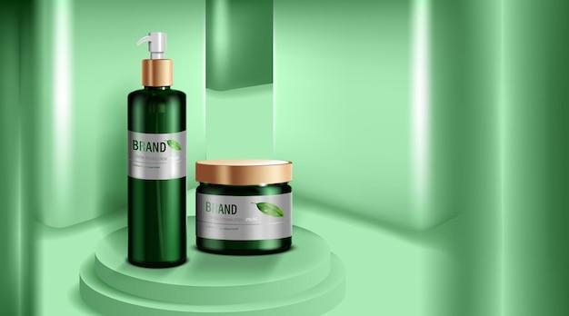Prodotti cosmetici o per la cura della pelle. bottiglia verde e priorità bassa verde della parete. Vettore Premium