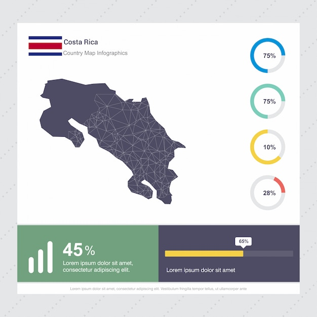 Modello di costa rica map & flag infographics Vettore Premium