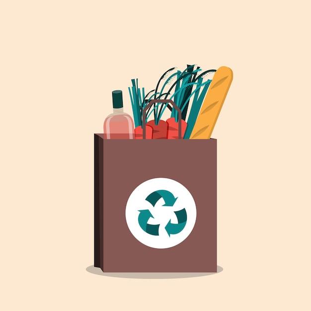 Borsa ecologica in cotone, no plastica. concetto di rifiuti zero Vettore Premium