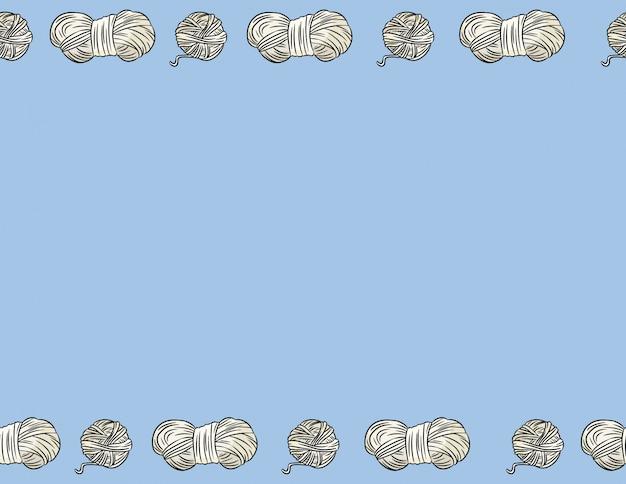 Lo stile comico dei fili del filo di cotone scarabocchia il modello senza cuciture del confine. accogliente boho craft cartolina o banner mock up. mattonelle di struttura del fondo della decorazione di formato della lettera. spazio per il testo Vettore Premium
