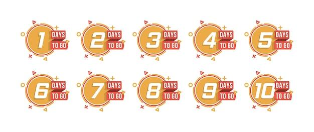 Conto alla rovescia da 1 a 10, giorni per andare l'etichetta o l'emblema possono essere utilizzati per promozione, vendita, pagina di destinazione, modello, interfaccia utente, web, app mobile, poster, banner, volantino. set di numero di giorni rimanenti conto alla rovescia. Vettore Premium