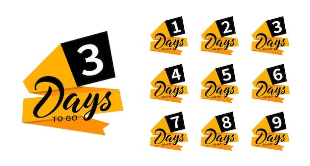 Banner di conto alla rovescia. mancano uno, due, tre, quattro, cinque, sei, sette, otto, nove giorni. conta la vendita del tempo. distintivi piatti, adesivi, tag, etichetta. numero 1, 2, 3, 4, 5, 6, 7, 8, 9 di giorni rimasti. Vettore Premium