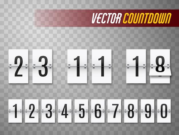 Conto alla rovescia con numeri isolati su trasparente. contatore dell'orologio modello Vettore Premium