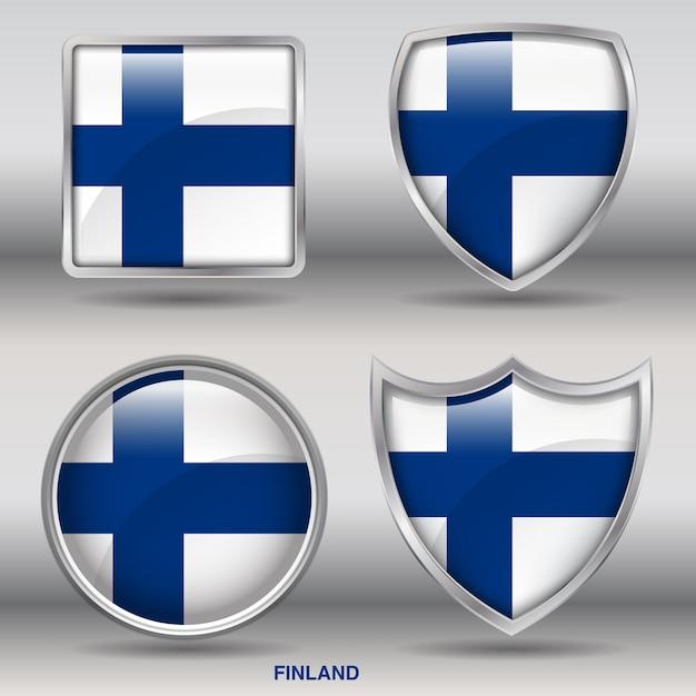 Icona di forme 4 bandiera smussata paese Vettore Premium