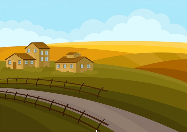 Paesaggio di campagna con case, strade, campi giallo verde. Vettore Premium