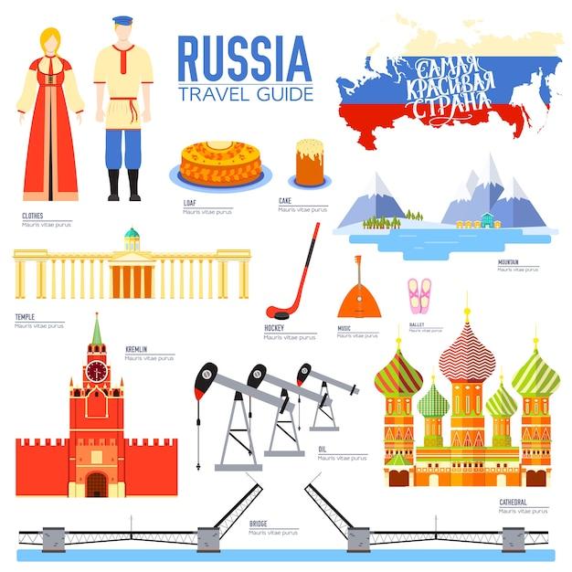 Paese russia viaggio vacanza guida delle merci Vettore Premium