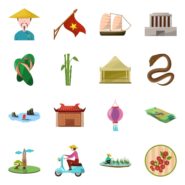 Elementi del fumetto del paese vietnam. imposti il punto di riferimento degli elementi della cultura del paese del vietnam. Vettore Premium