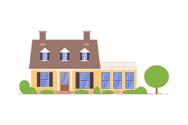 Casa di campagna. casa di campagna privata con terrazza e icona mansarda. appartamento domestico su priorità bassa bianca. illustrazione della proprietà residenziale o dell'abitazione immobiliare Vettore Premium