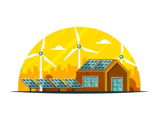 Vista della campagna dell'illustrazione della casa, dei pannelli solari e dei mulini a vento su fondo giallo e bianco. Vettore Premium