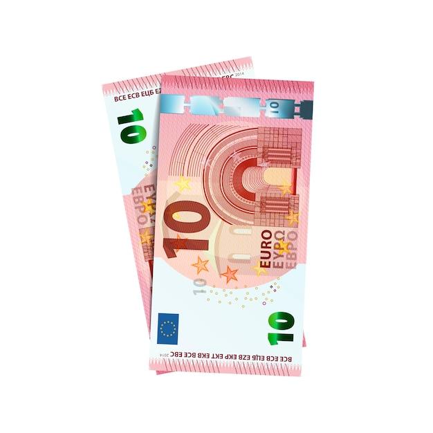 Coppia di banconote in euro 10 Vettore Premium