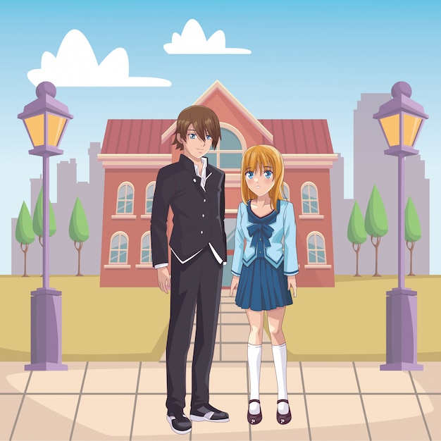 Coppia manga anime Vettore Premium