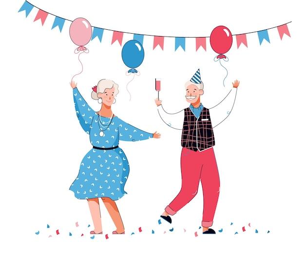 Coppia di ballare personaggi dei cartoni animati di persone senior in cappello di compleanno vacanza tra palloncini e pavese Vettore Premium
