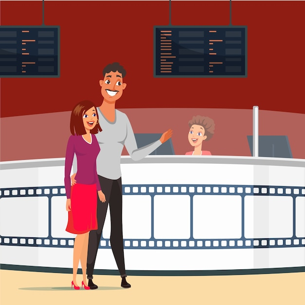 Coppia alla data nell'illustrazione del cinema. moglie e marito felici che comprano i biglietti per il film. fidanzata e fidanzato innamorato. serata romantica. personaggi dei cartoni animati nel cinema insieme Vettore Premium