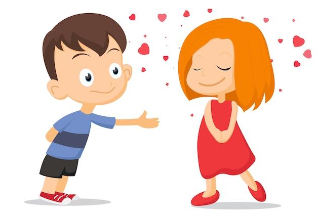 Un paio di bambini che si innamorano Vettore Premium