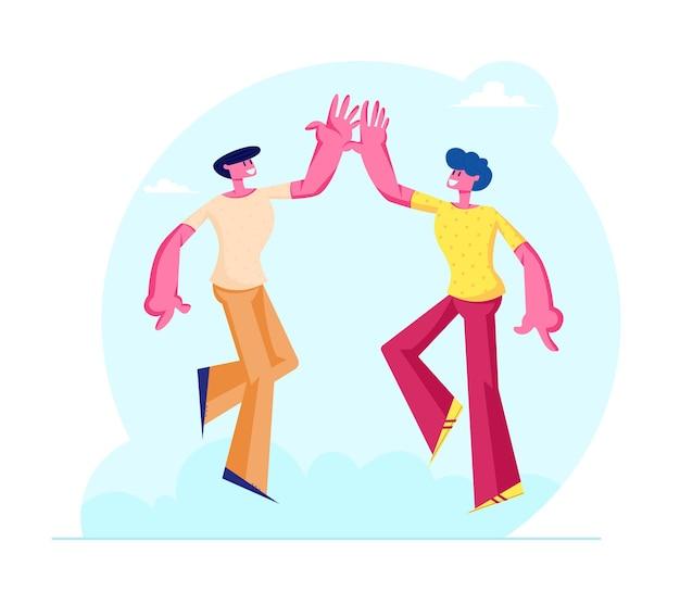 I personaggi di una coppia di amici maschi si danno il cinque l'un l'altro come simbolo di amicizia e solidarietà. cartoon illustrazione piatta Vettore Premium