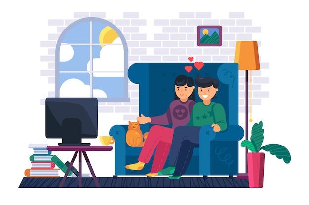 Coppia seduta sul divano guarda la tv a casa. giovane uomo e donna che guardano film o programmi televisivi insieme. stile di vita domestico e concetto di soggiorno. illustrazione del fumetto Vettore Premium