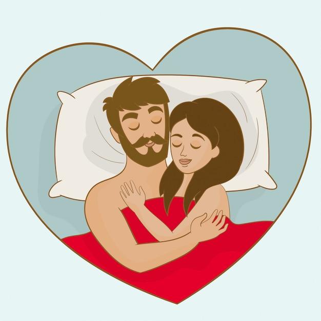 Coppia, dormire insieme, letto Vettore Premium