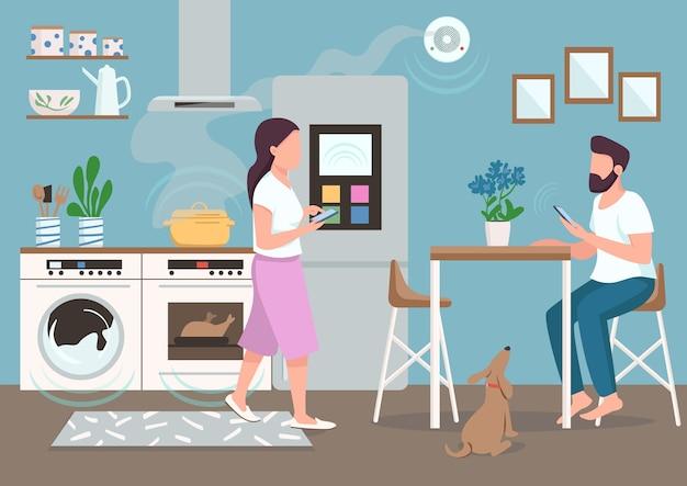 Coppia in cucina intelligente colore piatto. persone che utilizzano elettrodomestici automatizzati. giovane uomo e donna con personaggi dei cartoni animati di smartphone 2d con sala da pranzo sullo sfondo Vettore Premium