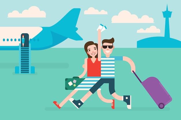 Coppia di turisti che viaggiano in aereo la donna tiene in mano i biglietti aerei Vettore Premium