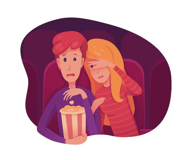 Coppie che guardano l'illustrazione piana di film spaventoso, adolescenti che hanno appuntamento romantico, personaggi dei cartoni animati di ragazzo e ragazza. horror, thriller, film di mistero. Vettore Premium