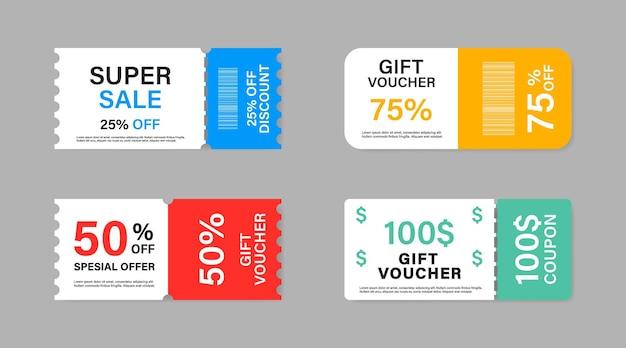 Collezione di vendita di promozione coupon. Vettore Premium