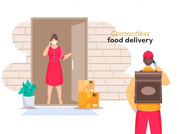 Il corriere ti informa sulla consegna dell'ordine dal telefono al cliente donna in piedi alla porta per la consegna di cibo senza contatto. Vettore Premium