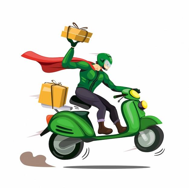 Uomo del corriere con pacchetto di consegna del mantello alla motocicletta del cliente. personaggio nel fumetto illustrazione vettoriale isolato Vettore Premium