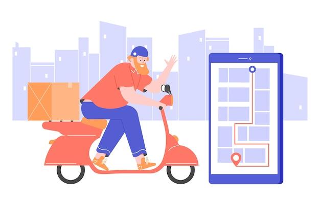 Il corriere su uno scooter in un casco gira per la città. Vettore Premium
