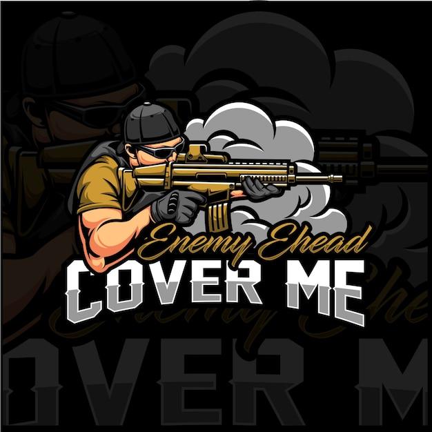Cover me esport logo Vettore Premium