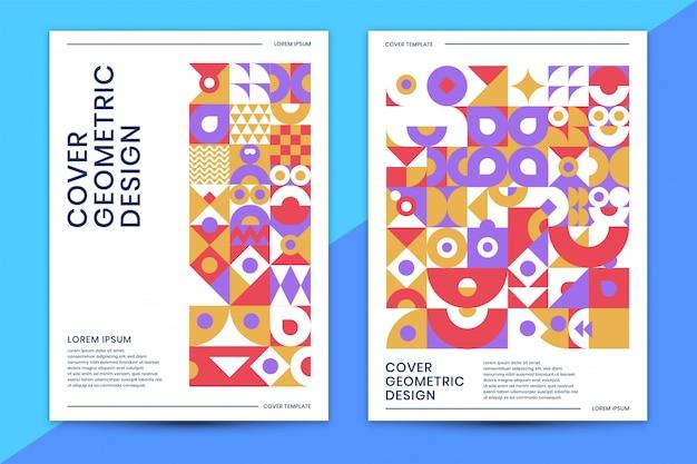 Modello di copertina con colorato geometrico astratto Vettore Premium