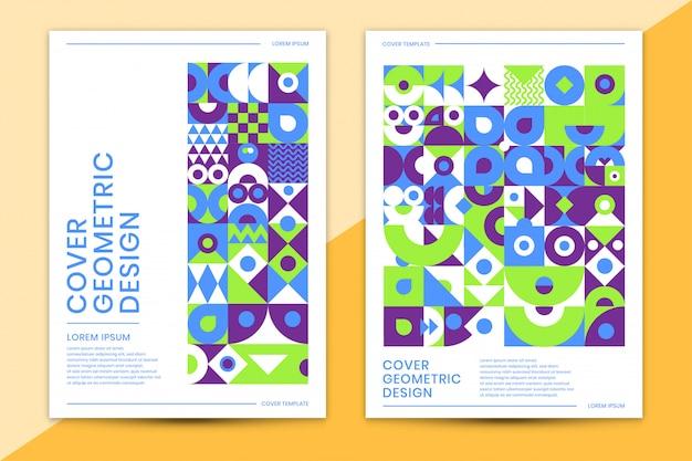 Modello di copertina con forma colorata disegno geometrico astratto Vettore Premium