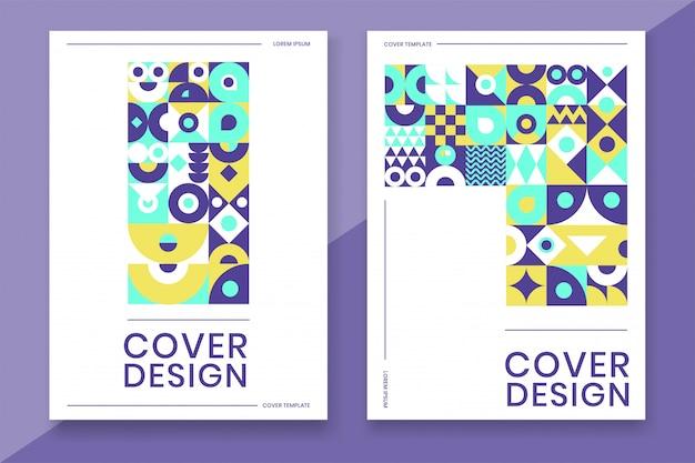 Modello di copertina con colore colorato dal design geometrico astratto Vettore Premium