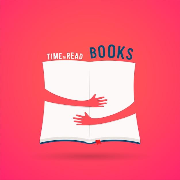 Libro aperto coperto con le mani abbraccio Vettore Premium