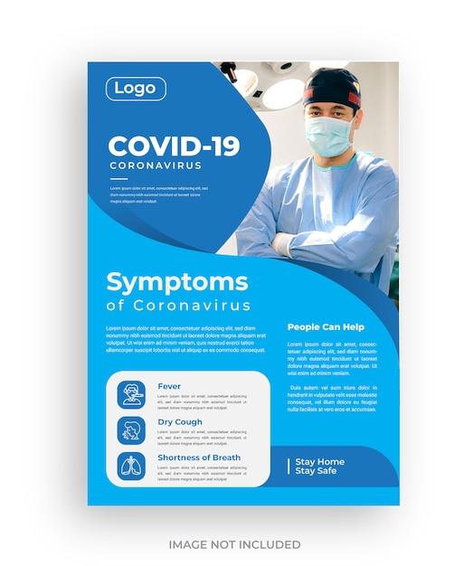 Covid 19 disegno del modello di volantino di sintomi di virus corona Vettore Premium