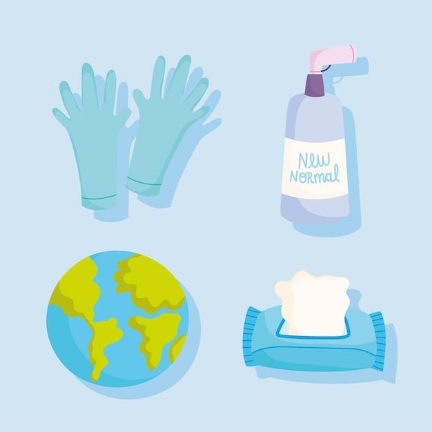 Guanti di protezione e prevenzione covid 19 carta e gel disinfettare e icone del mondo illustrazione vettoriale Vettore Premium