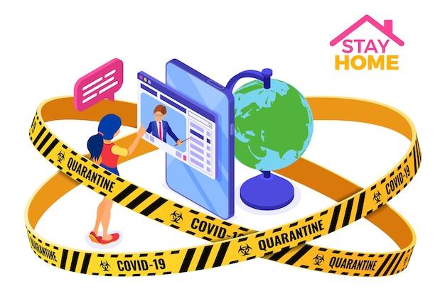 Covid-19 quarantena resta a casa formazione online o esame a distanza con carattere isometrico Vettore Premium