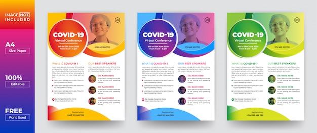 Covid-19 virtuaal seminar flyer design template Vettore Premium