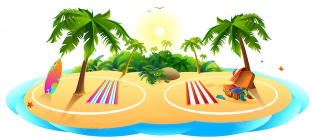Covid spiaggia sicura per le vacanze estive. la sabbia delle palme di mare è un posto sicuro dove riposare Vettore Premium