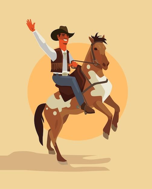 Carattere di cowboy a cavallo. Vettore Premium