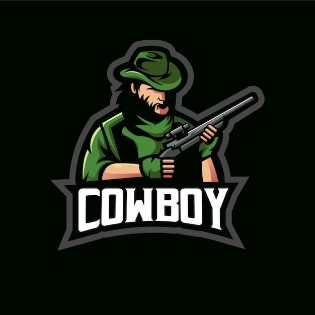 Cowboy e-sport mascotte logo design illustration Vettore Premium